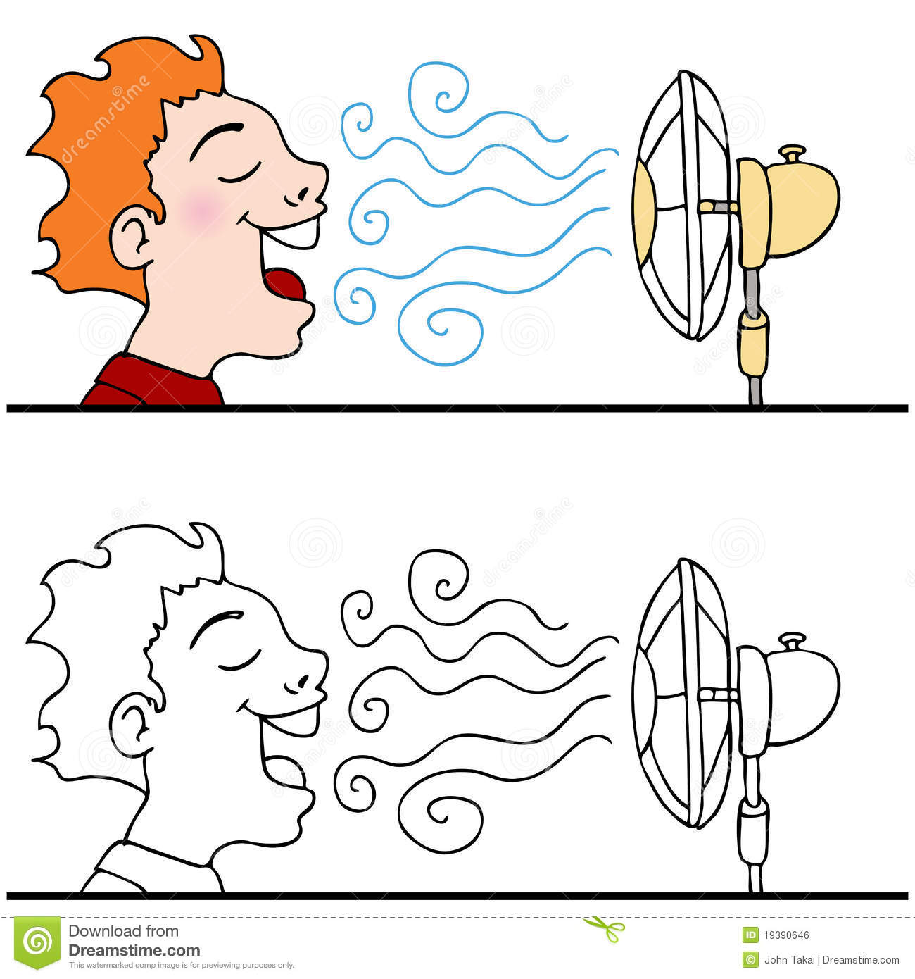 Cooling Off With Fan : Man cooling off using an electric fan royalty free stock
