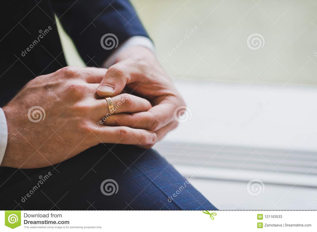 Mens Hands Are Adjusting Their Wedding Rings 1493 Stock Image Image Of People Flower 121163533