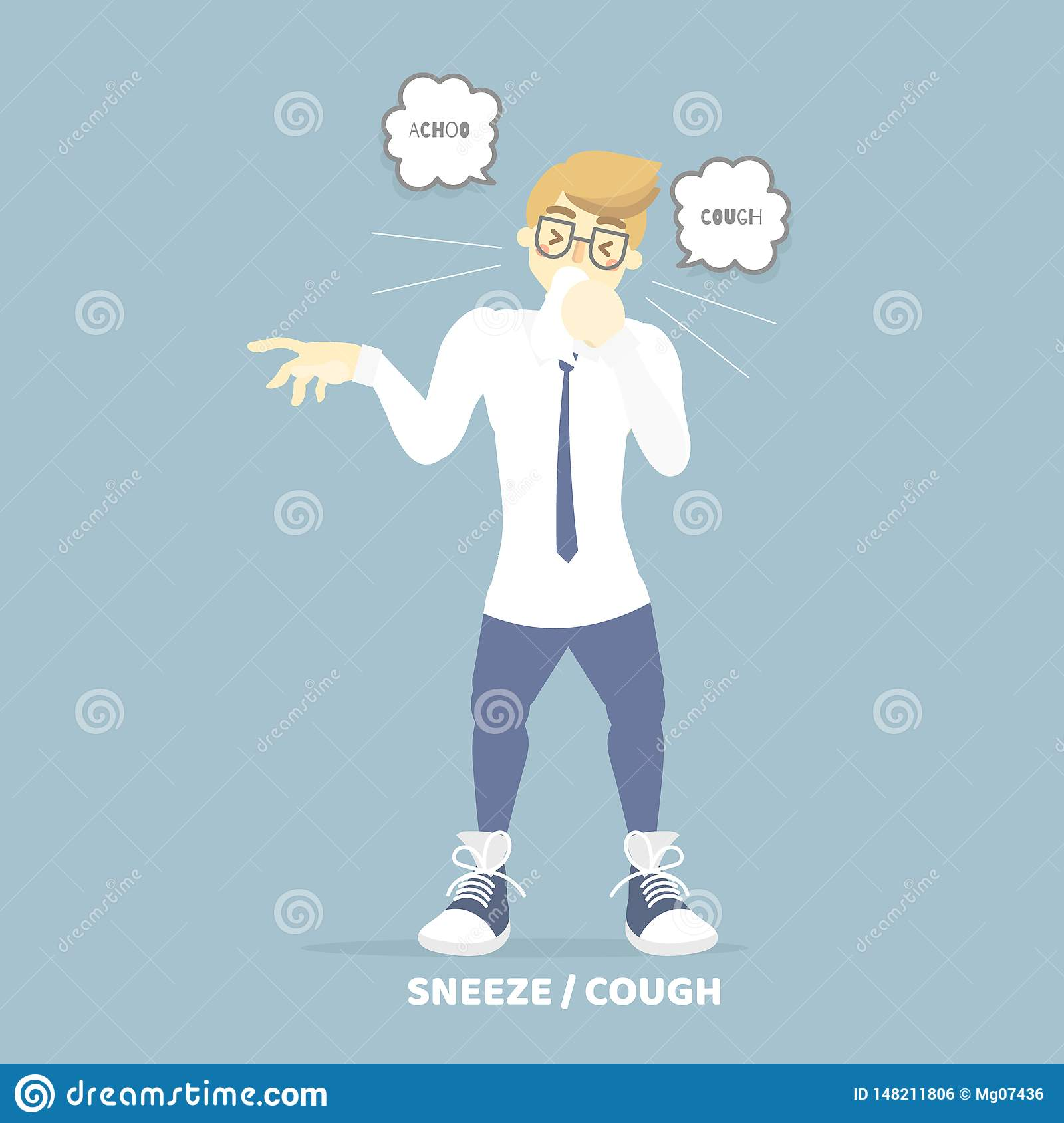 Man coughing sneezing, health care, pollen allergy, air pollution disease symptoms concept
