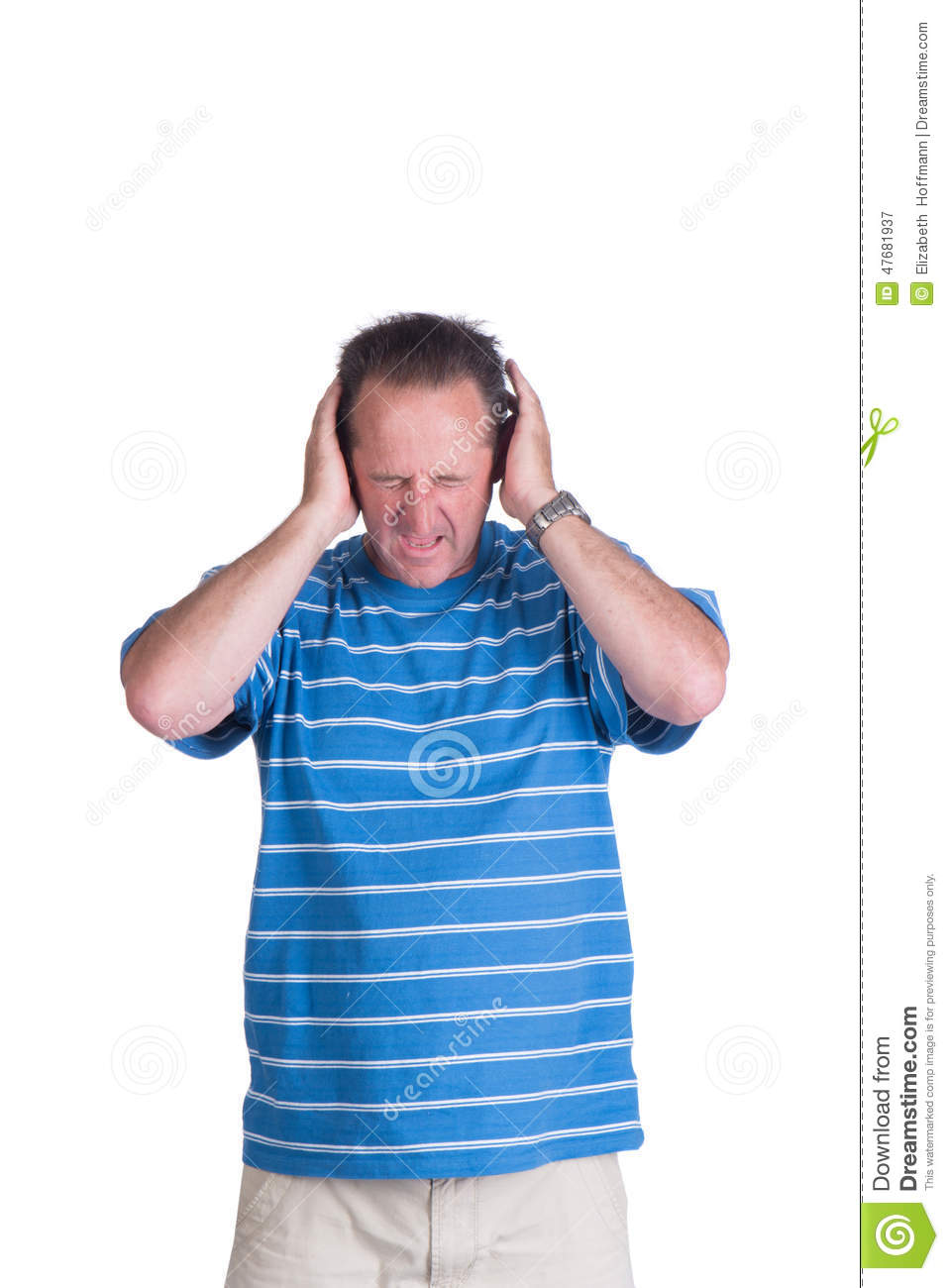 Man coveing ears in pain stock image. Image of booming ...