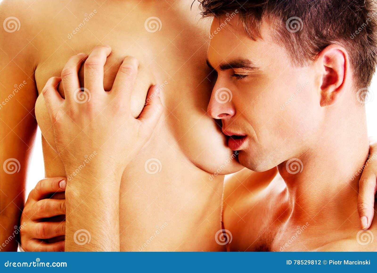 Boy kiss girl breast