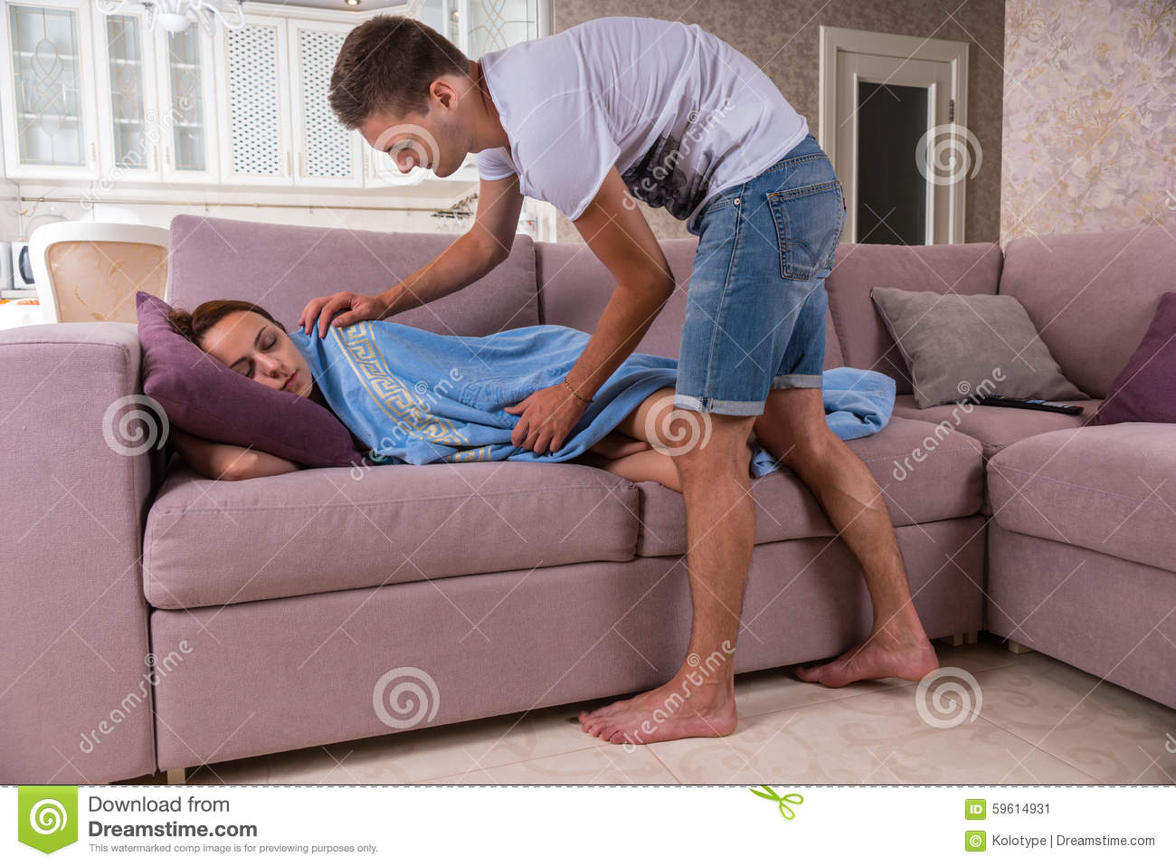 With you Wife sleeping on sofa with you
