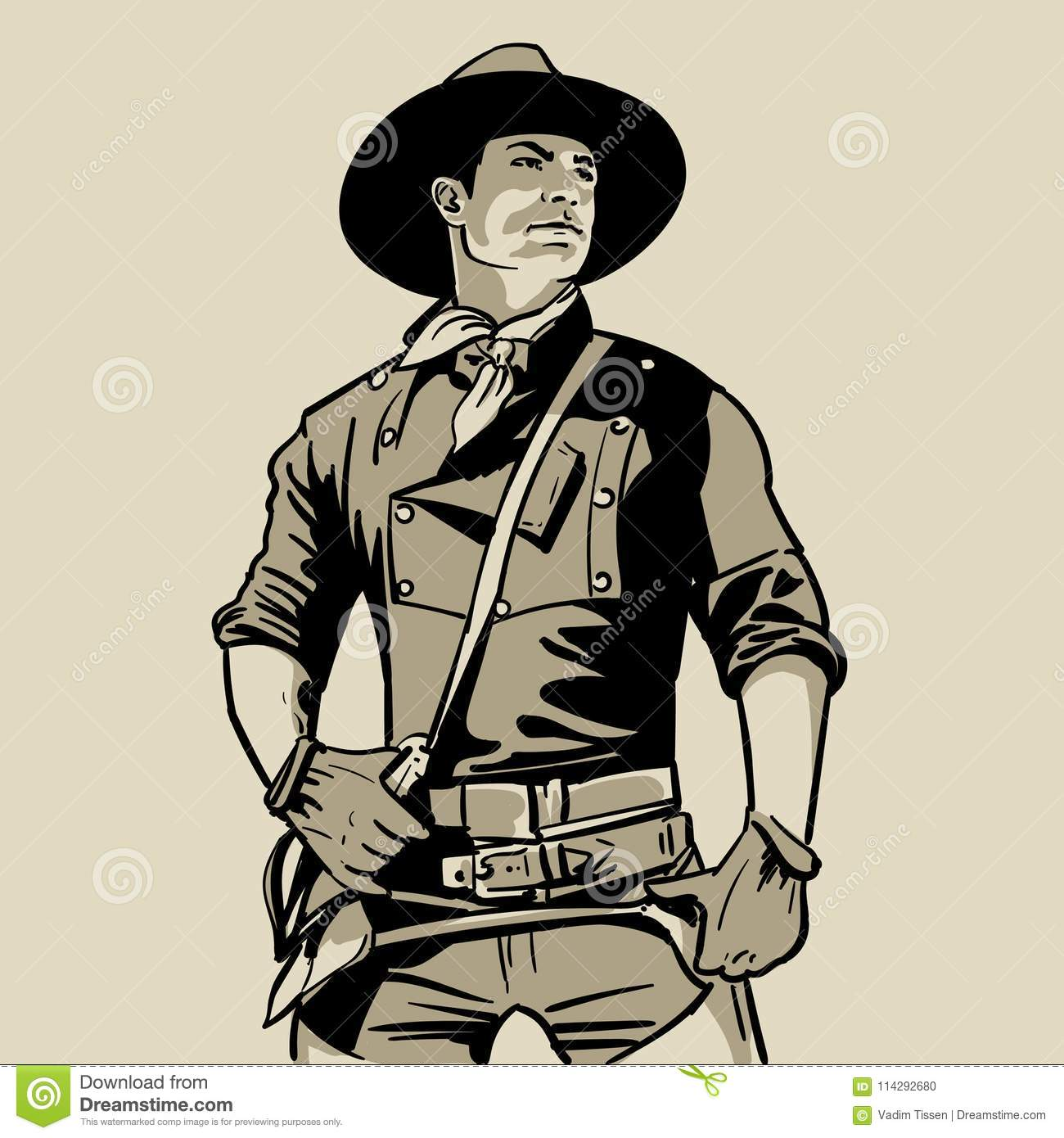 Man with cowboy hat and shirt and scarf. Western. Portrait. Digital Sketch Hand Drawing. Illustration.