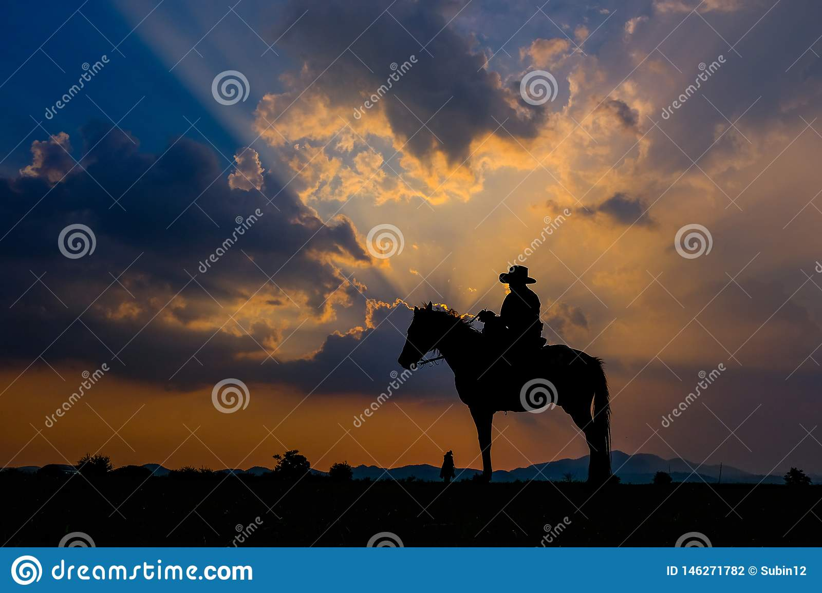 Man In A Cowboy Outfit With His Horse Stock Photo Image Of Sign America 146271782
