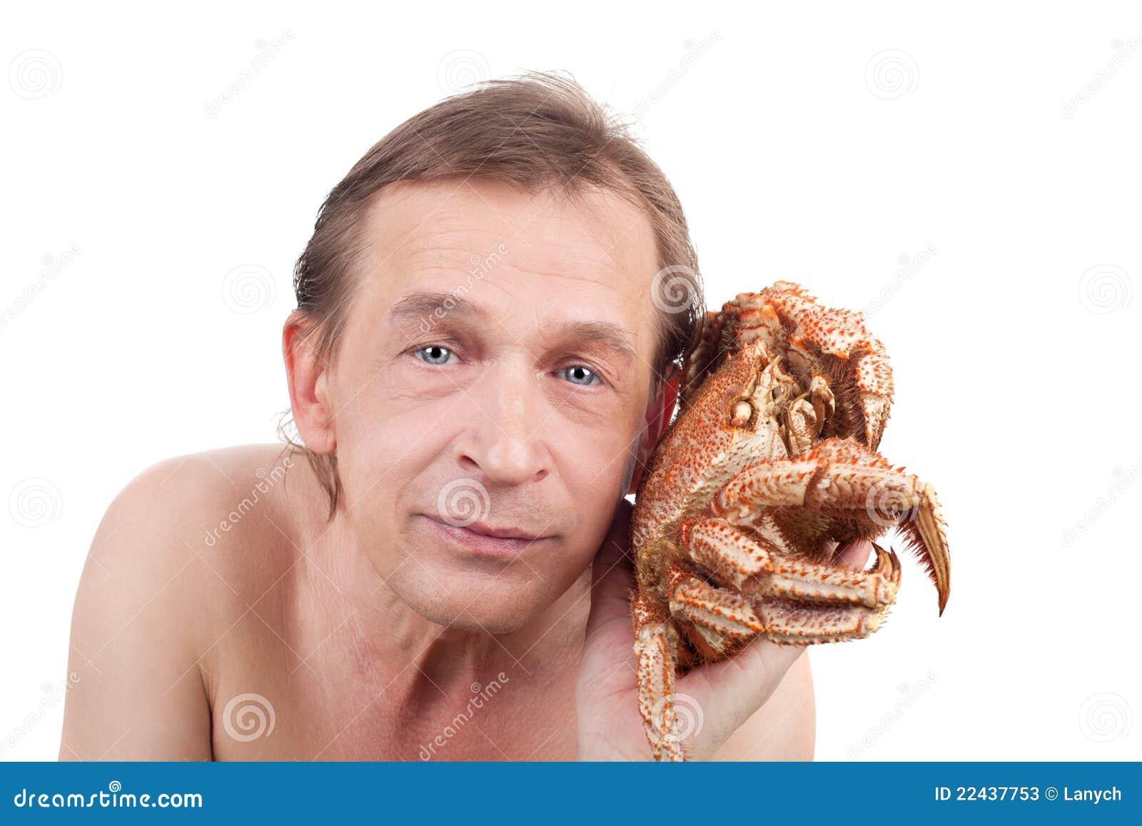 Man And Crab Stock Pho...
