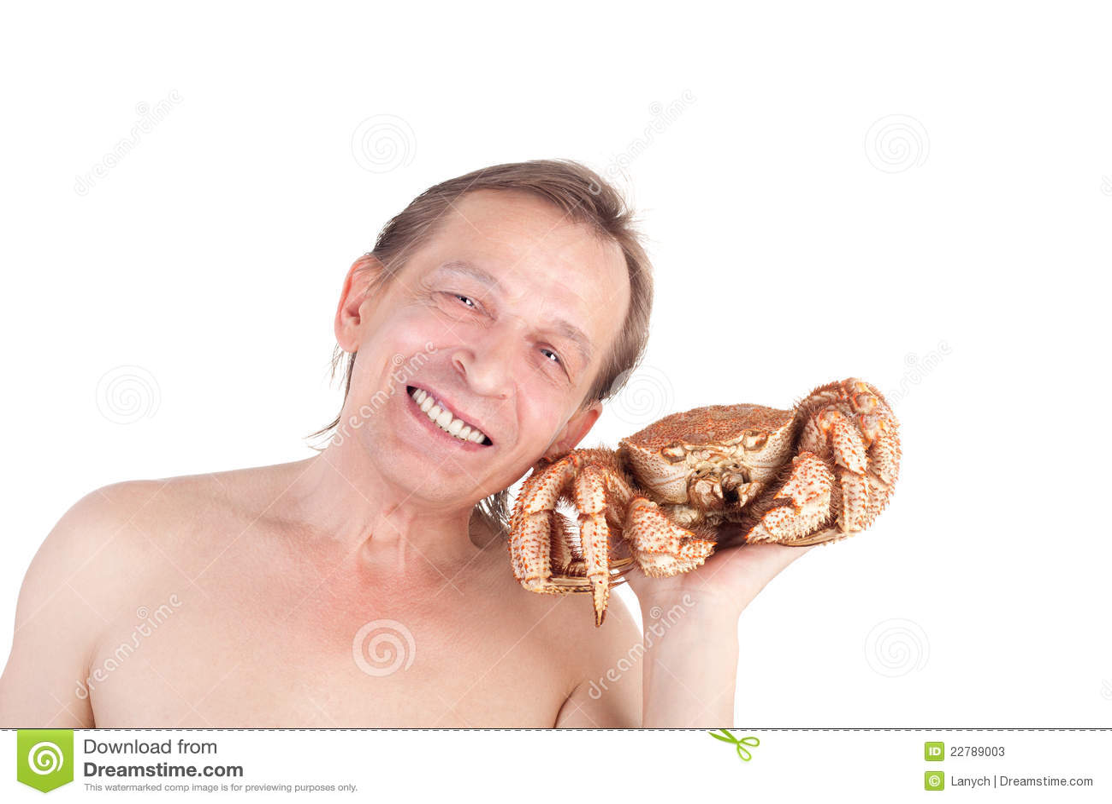 Man With Crab Stock Ph...