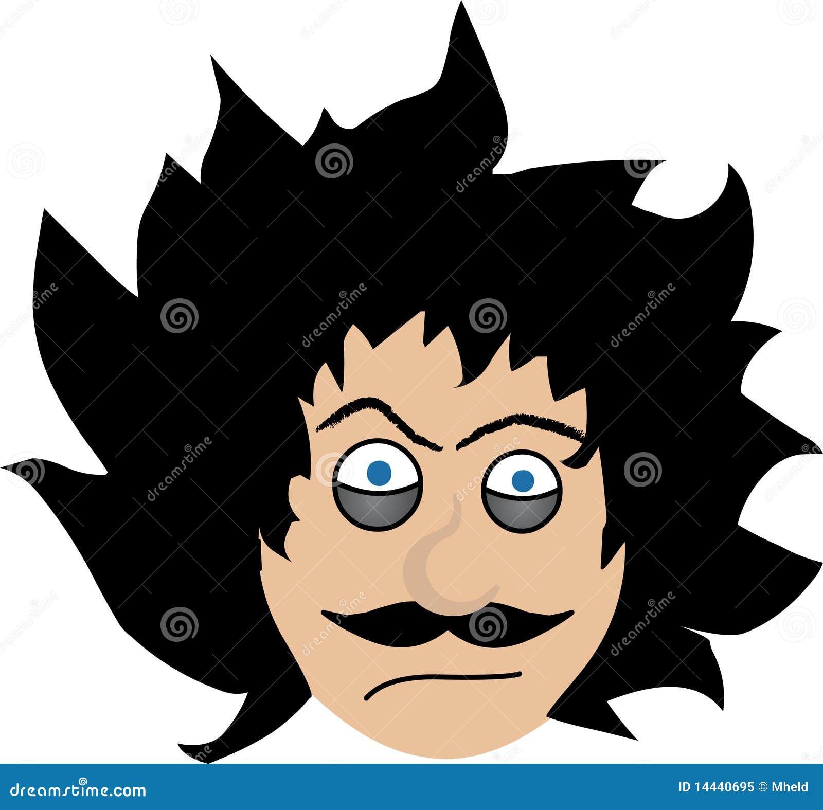 Depressed odd guy with big messy hair cartoon