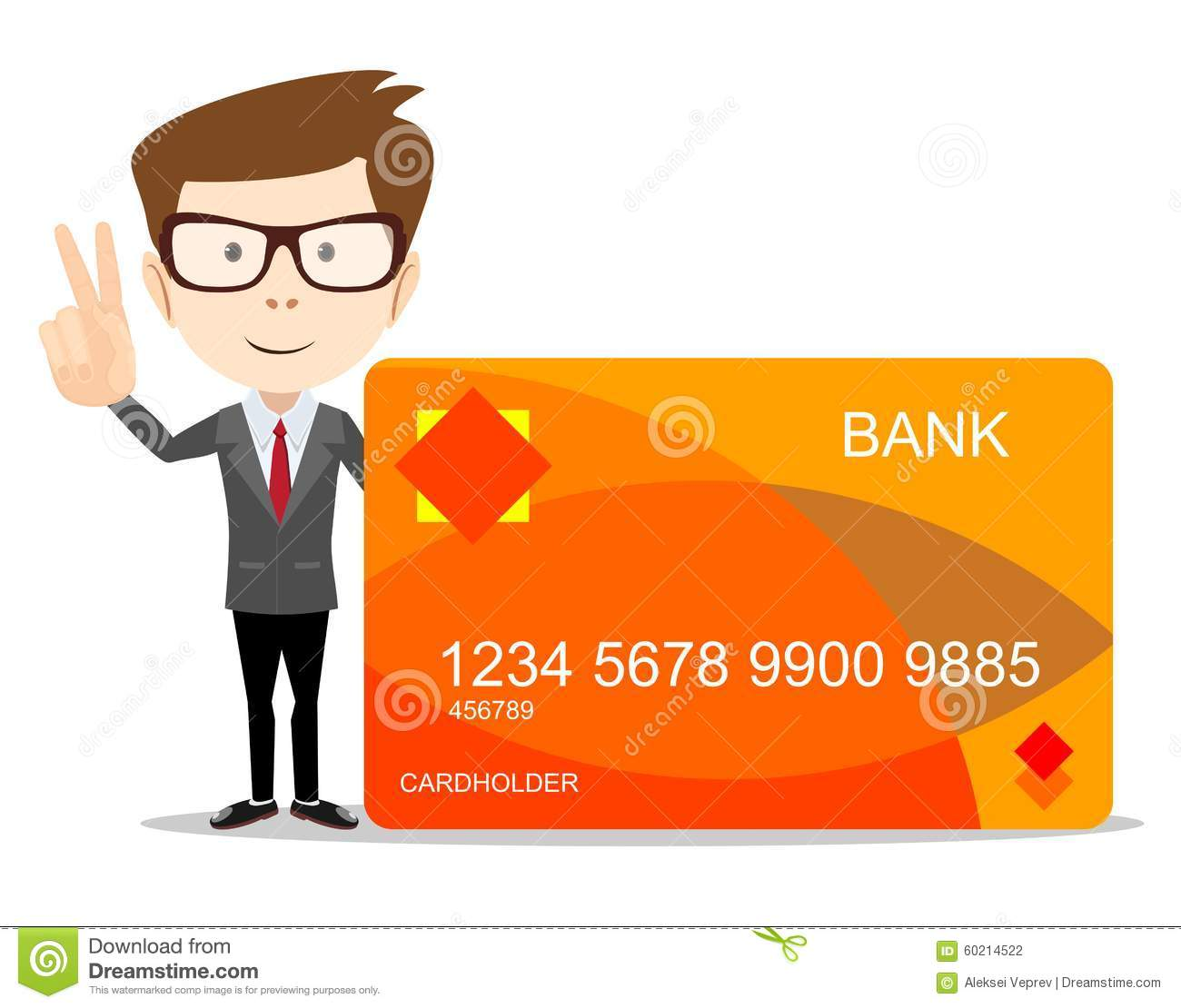 Man With Credit Card For Use In Advertising Stock Vector ...