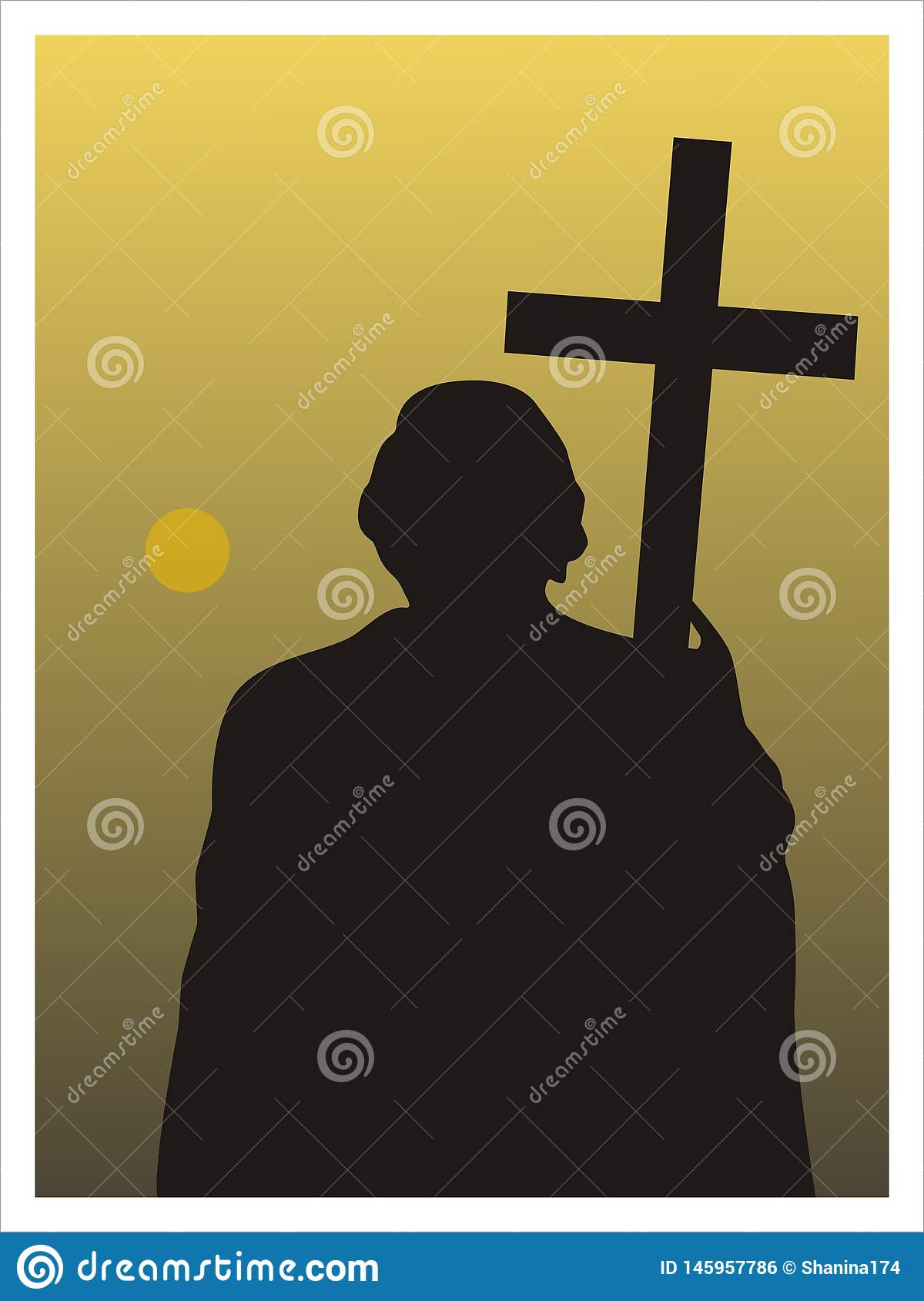 Man with a cross. Vector