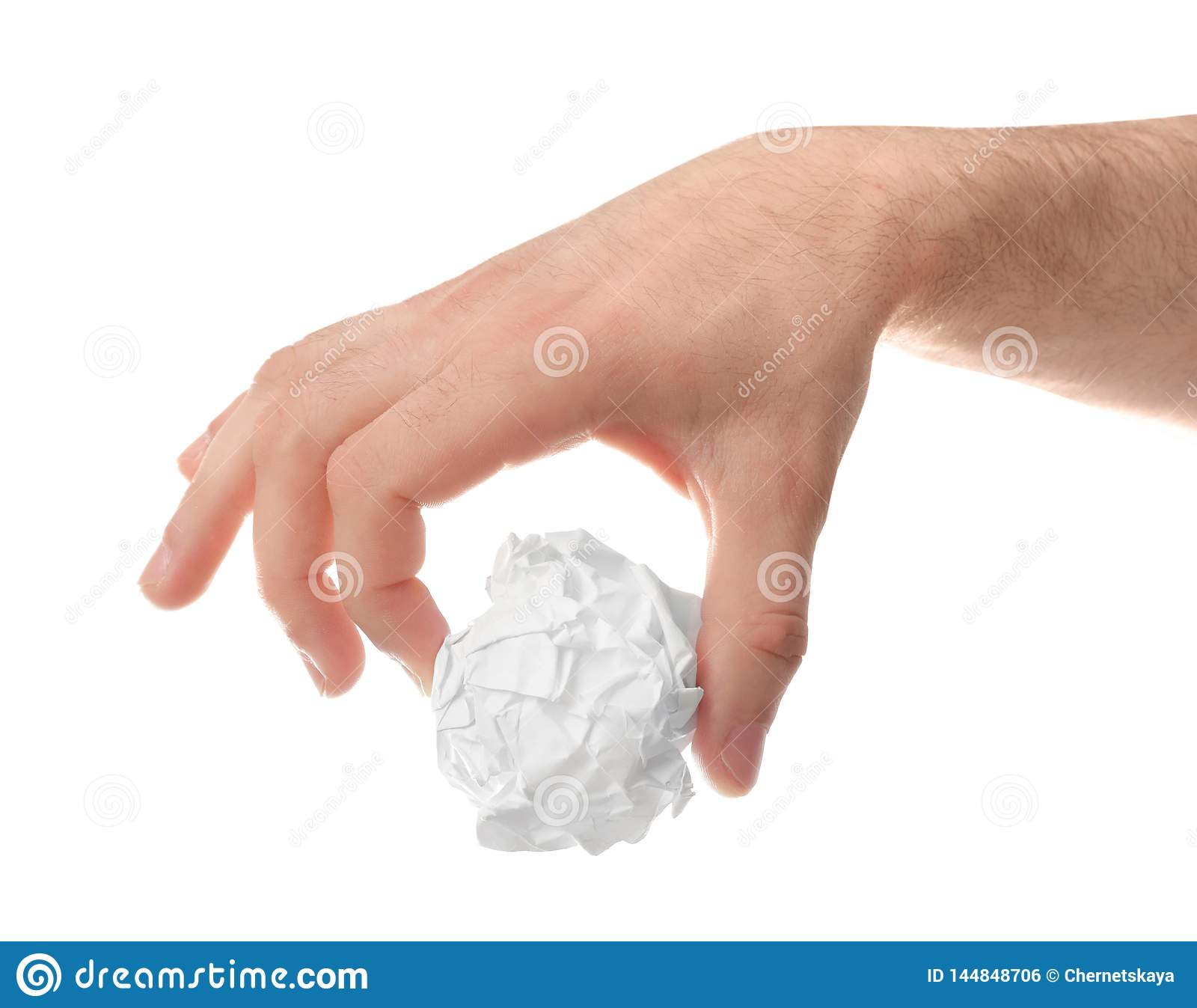 Man crumpling paper against white background, closeup. Generating