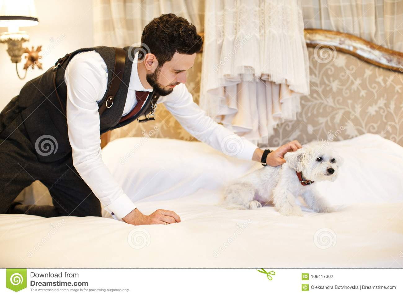 Man With Cute White Dog Wedding Dress Hanging On The Bed In The