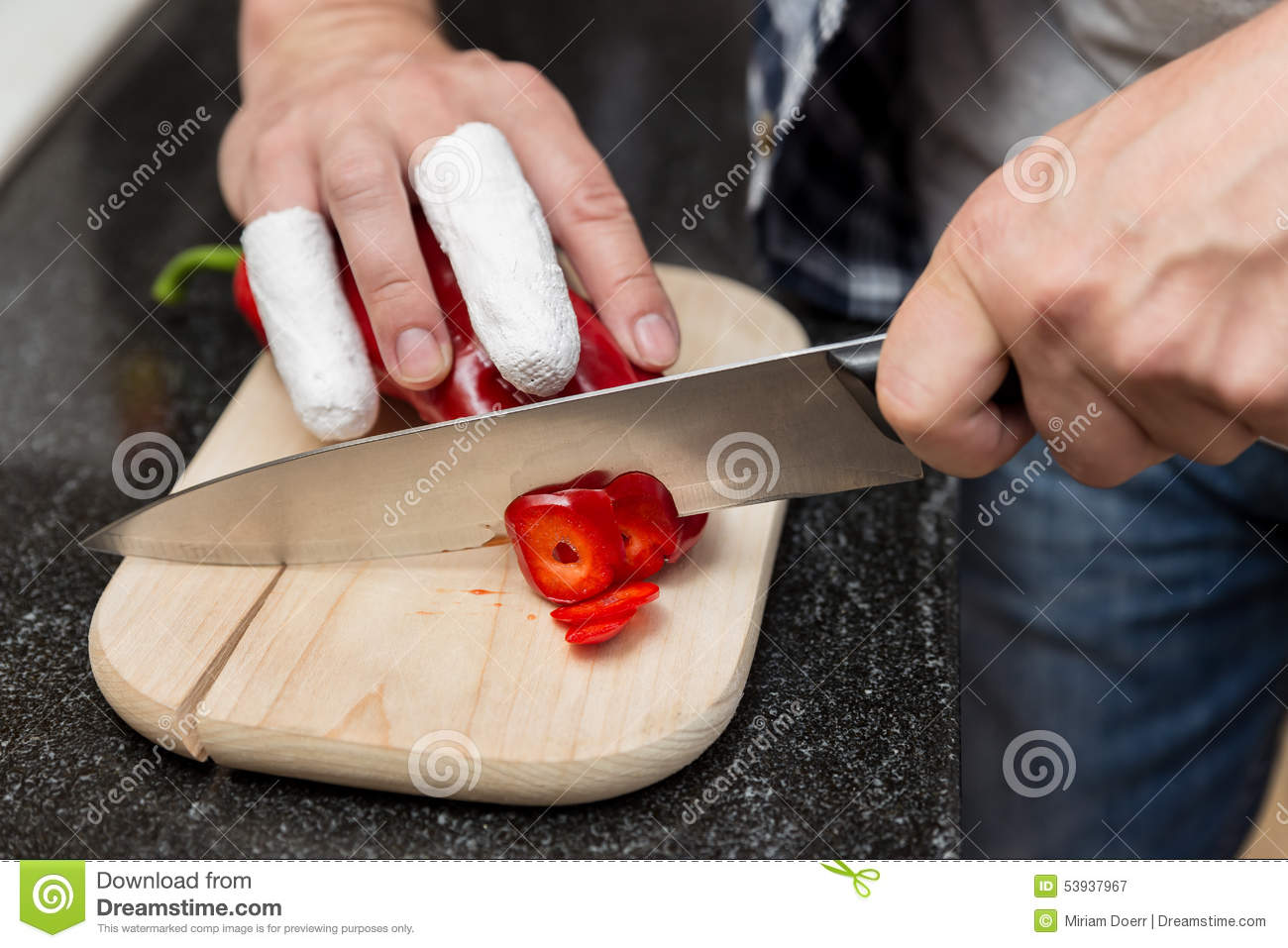 Man Cuts With Injured Fingers Peppers Stock Image - Image of finger ...