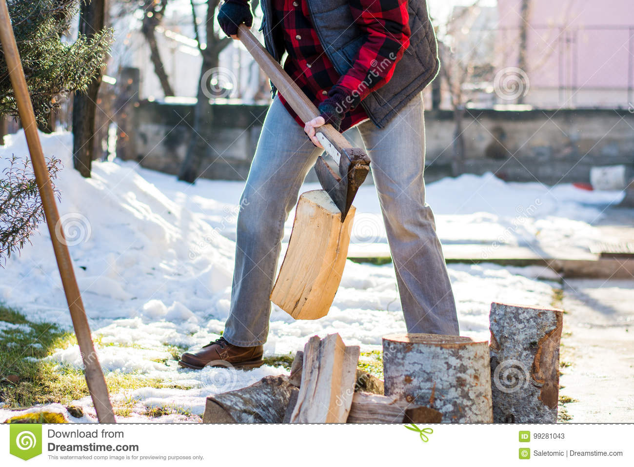 Man Cutting Firewood For The Winter Stock Image - Image of ...