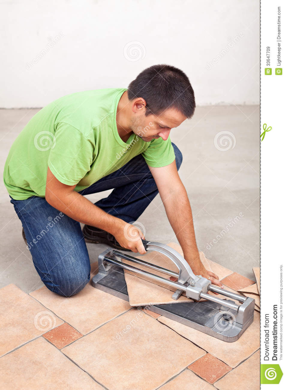 Man Cutting Floor Tiles Stock Image Image Of Home Material 33647709