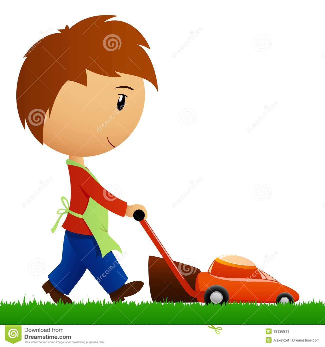 man cutting the grass with lawn mower stock vector