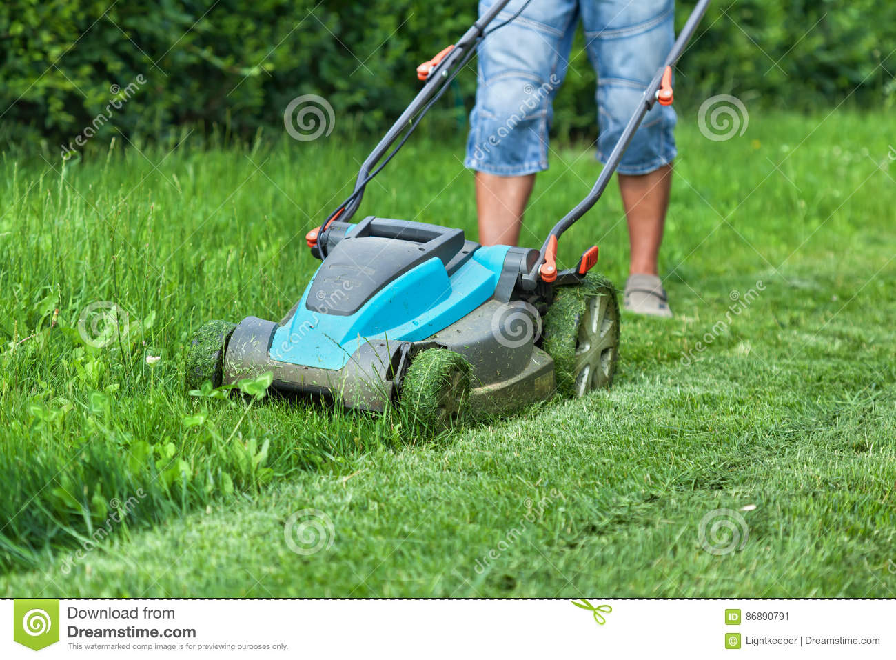 Lawn mower man vector illustration for Lawn mower cutting grass