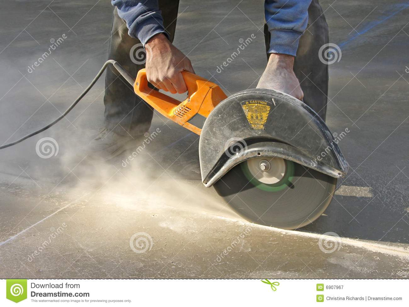 Man Cutting Groove In Concrete Slab Stock Image Image