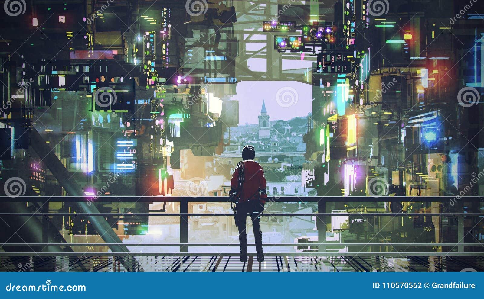 Man In The Cyberpunk City Stock Illustration Illustration