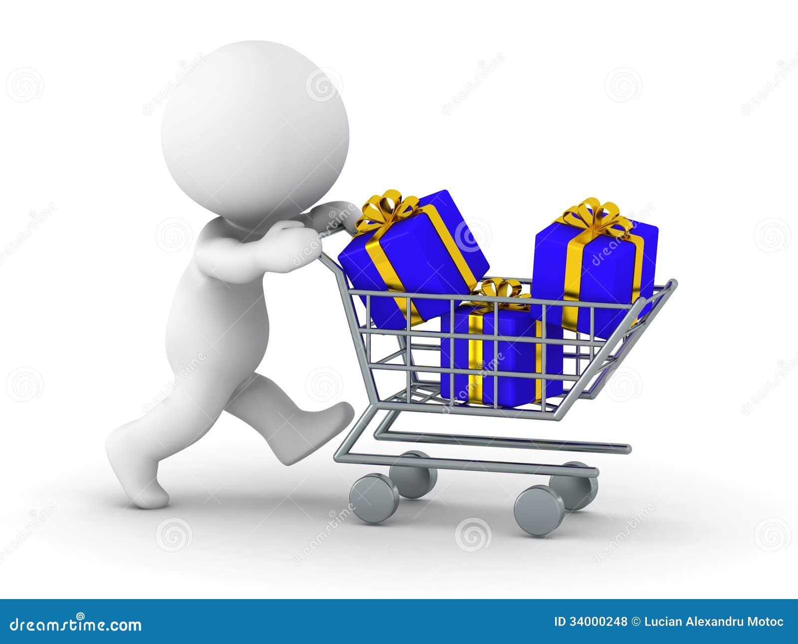 Man 3D med shoppingvagnen med gåvor