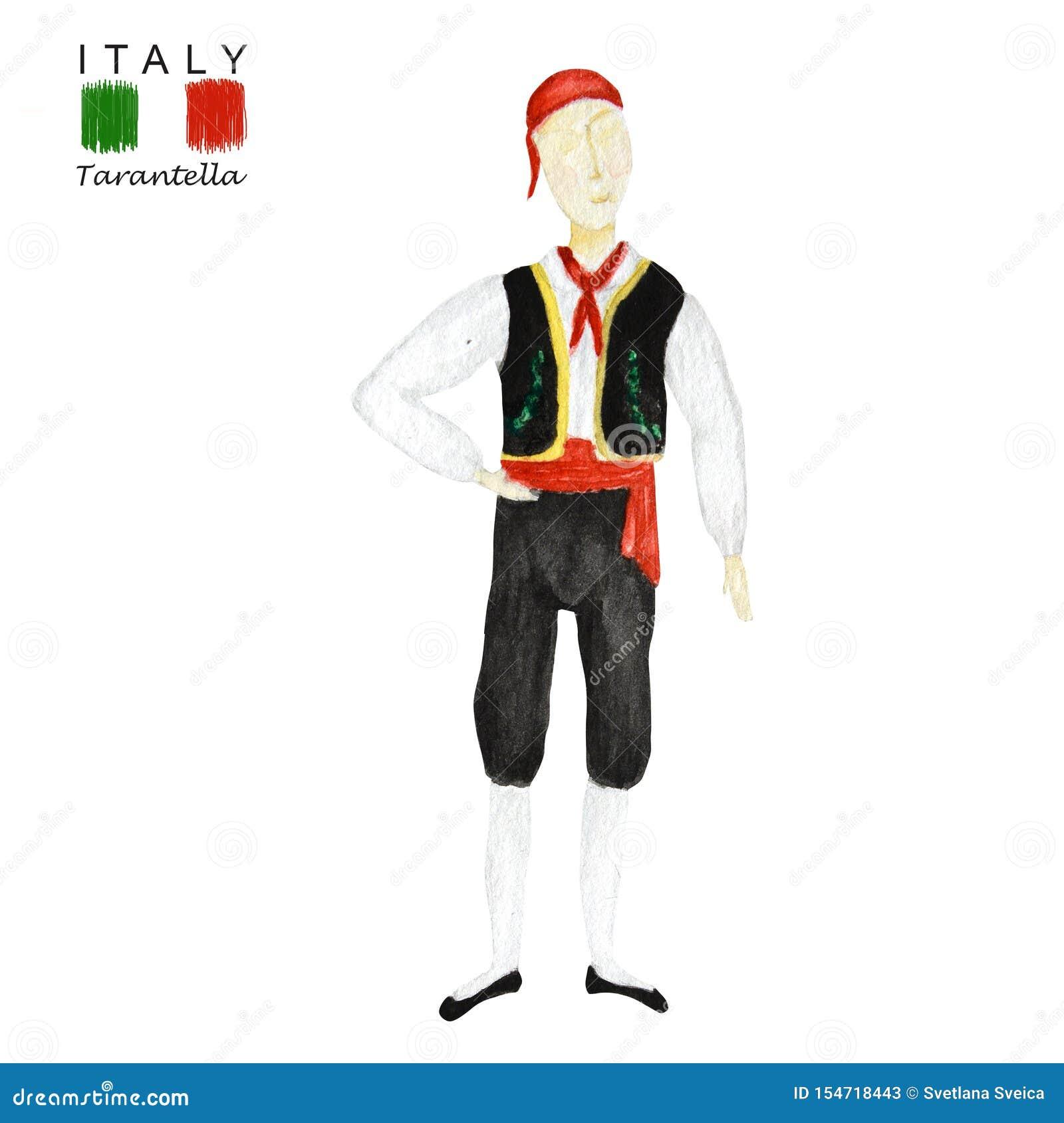National Costume Dancing An Italian Tarantella On White