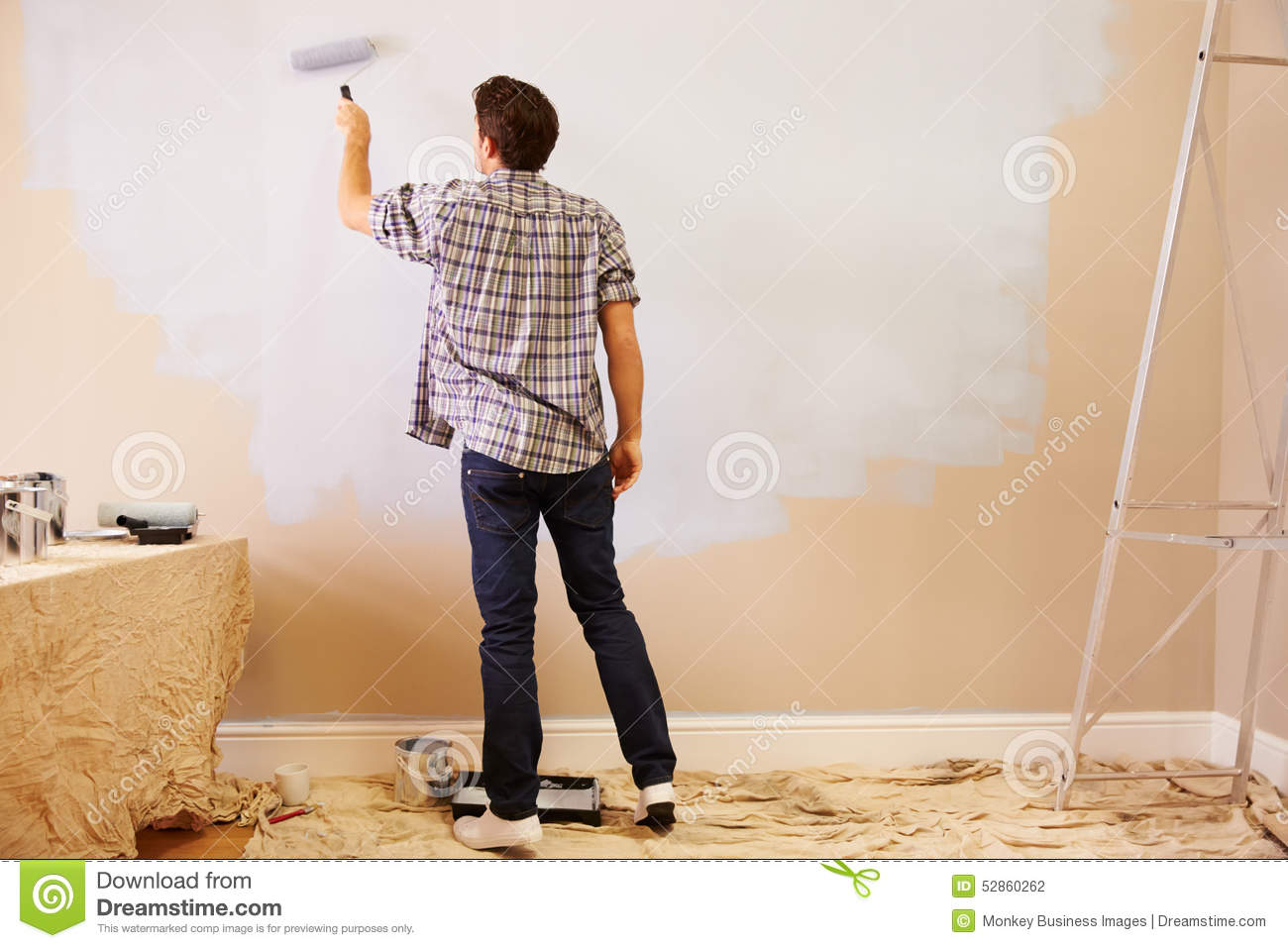 Royalty-Free Stock Photo. Download Man Decorating ...