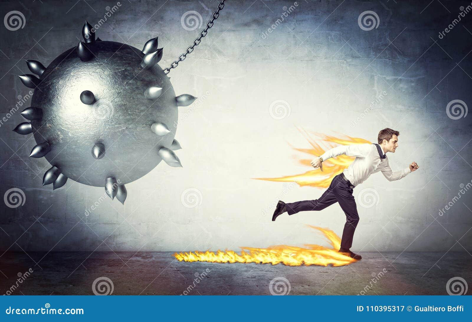 Man and demolition ball