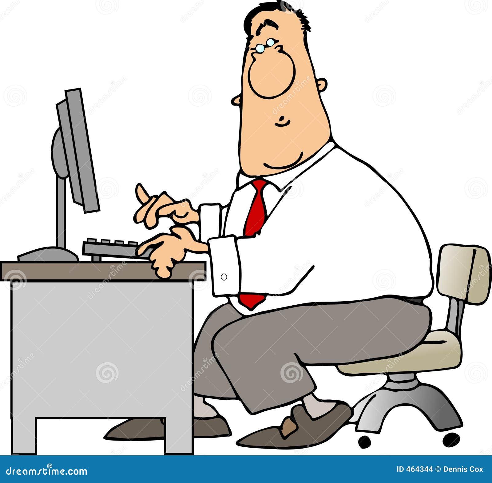 Man At A Desk Stock Illustration Illustration Of Cartoon