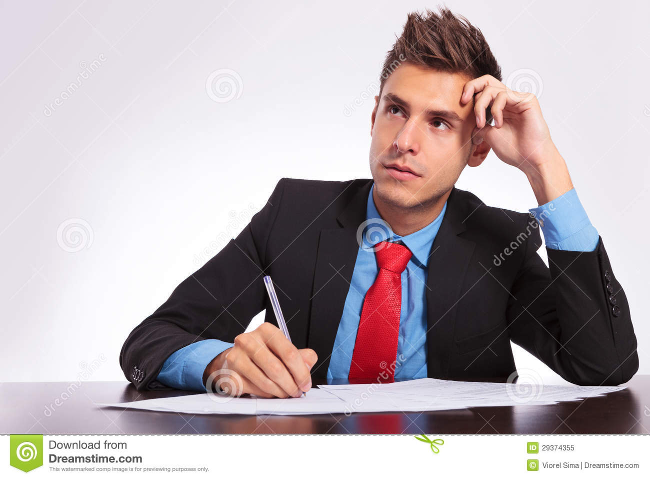 Man At Desk Thinking What To Write Royalty Free Stock Photo - Image ... Z Table Chart