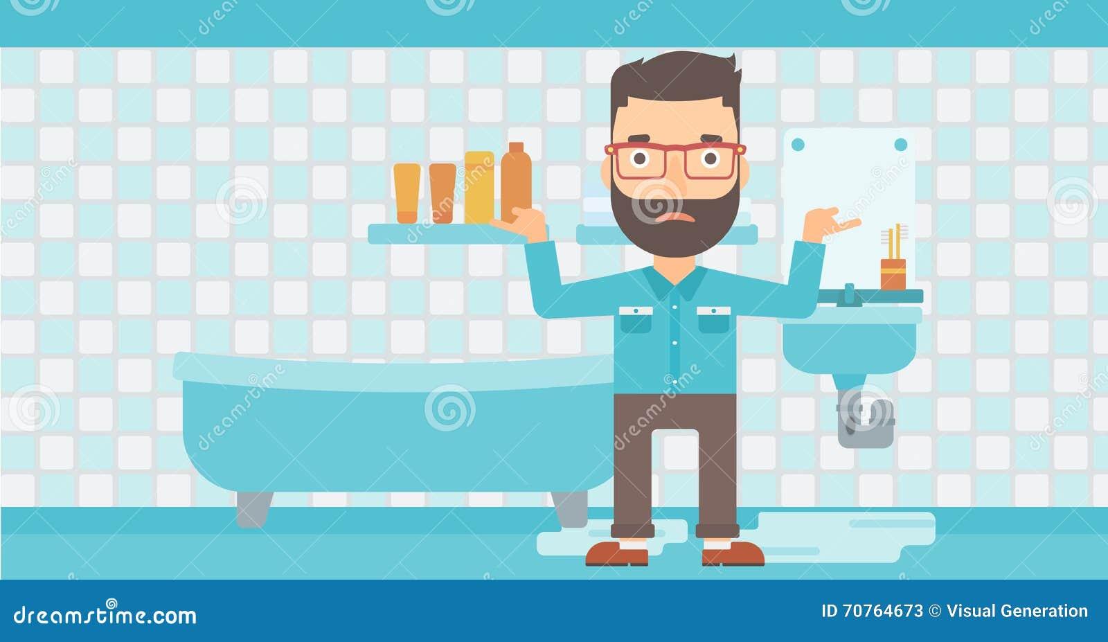 Man In Despair Standing Near Leaking Sink Cartoon Vector
