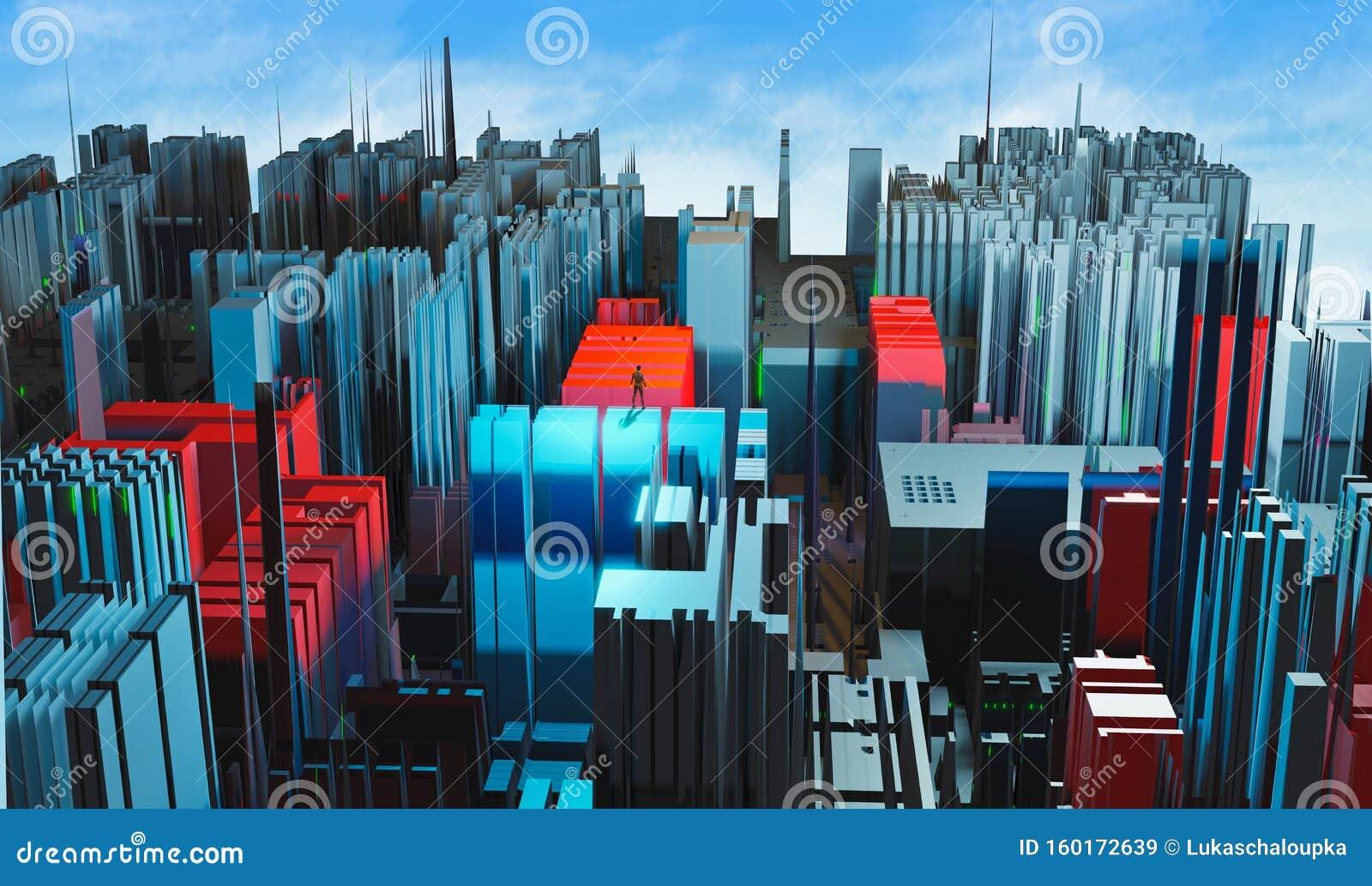 Man die staat op de fractale, kleurrijke rode en blauwe stad met blauwe lucht en wolken Moderne stad in de toekomst, 3D rendering