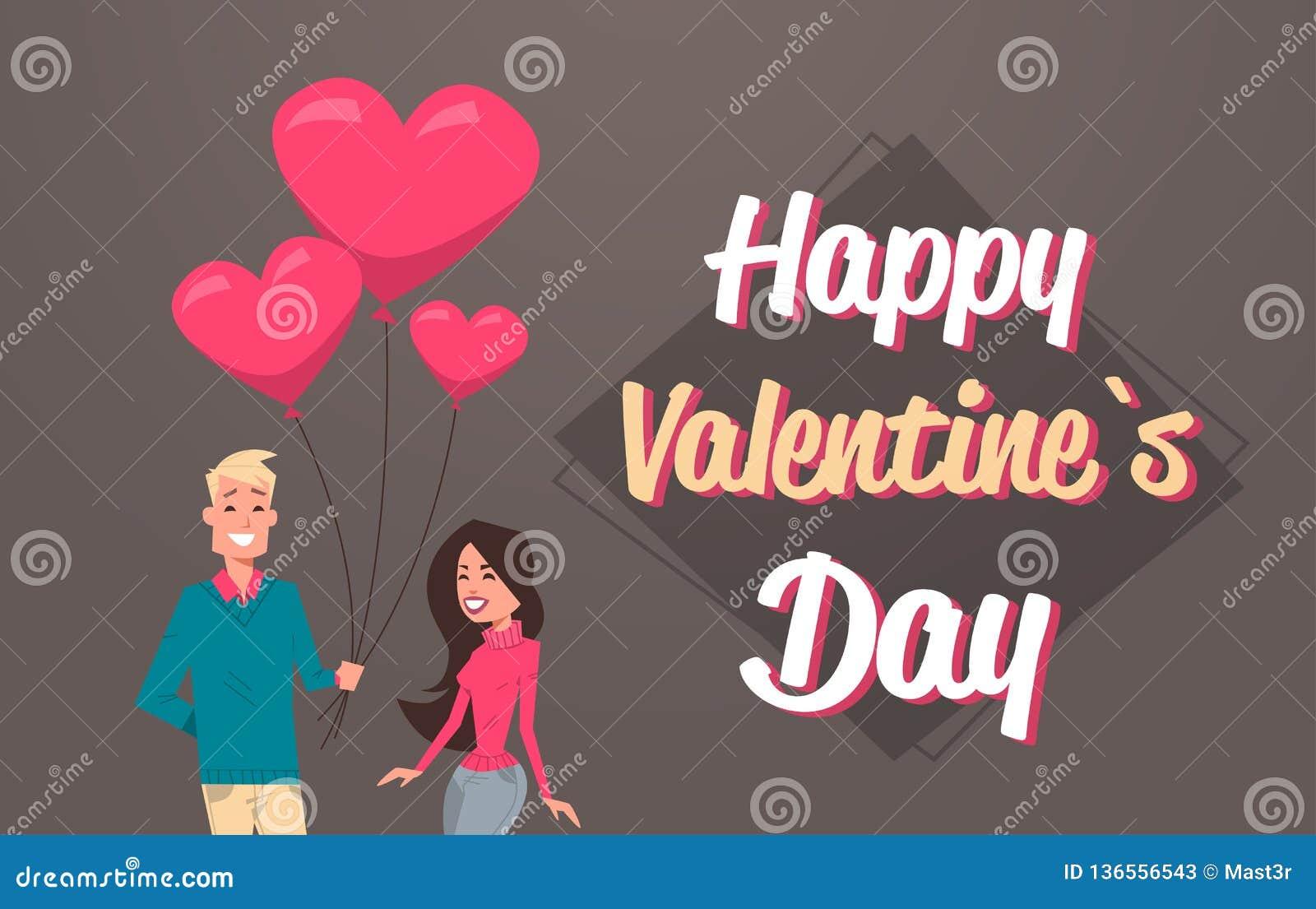 Man die vrouw roze de luchtballons geven van de hartvorm gelukkig de vakantieconcept van de valentijnskaartendag jong paar in de