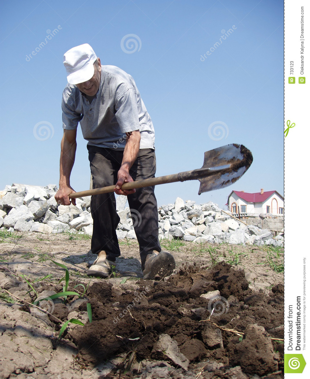 Man digging stock photos image 733123 for Digging ground dream meaning