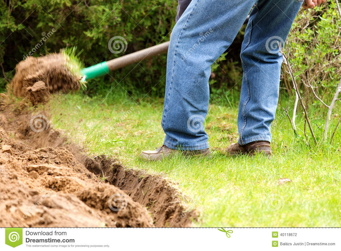 Gardening man digging over the soil stock photography for Digging ground dream meaning