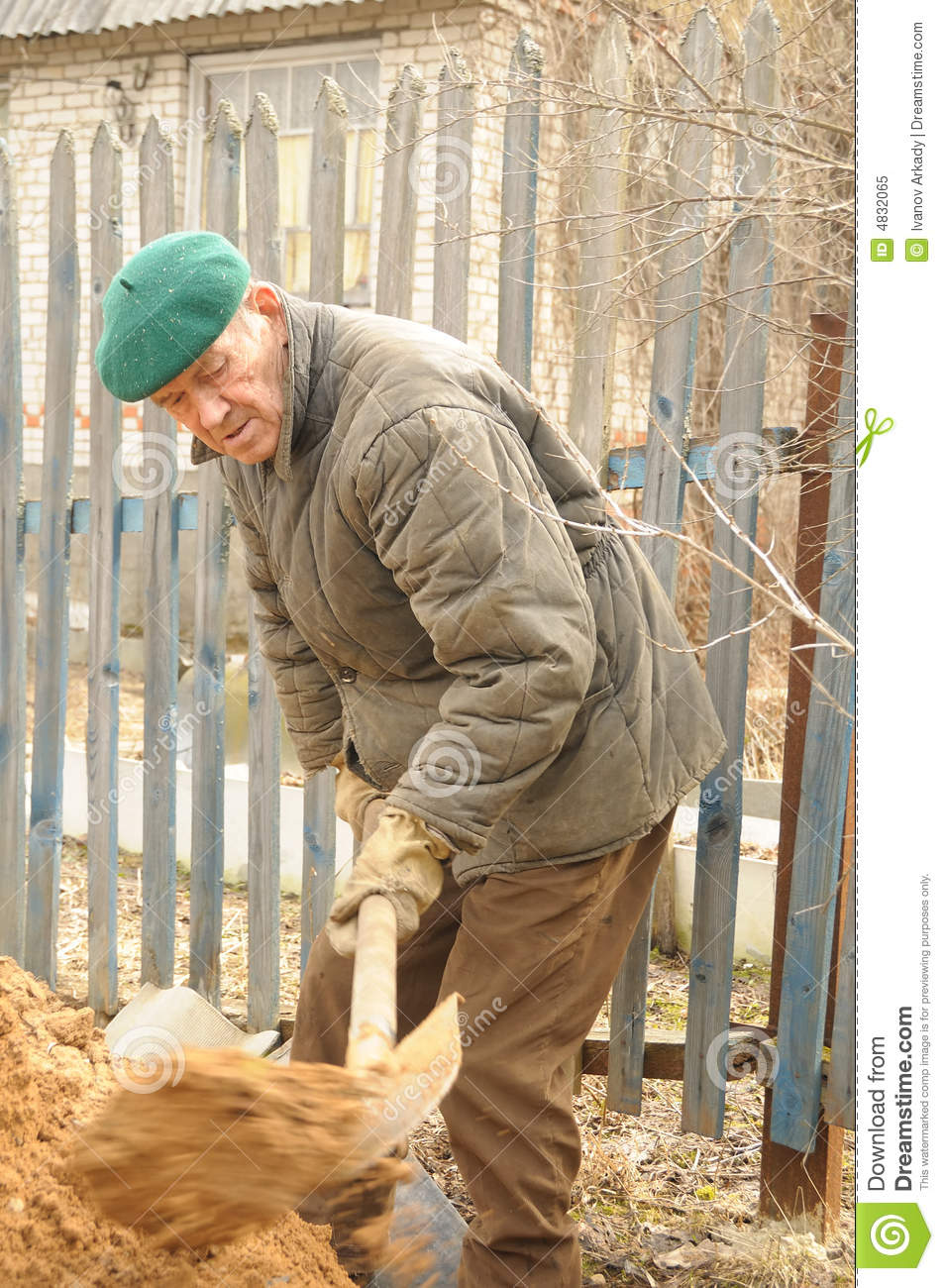 Man digging ground stock image image of grandfather for Digging ground dream meaning