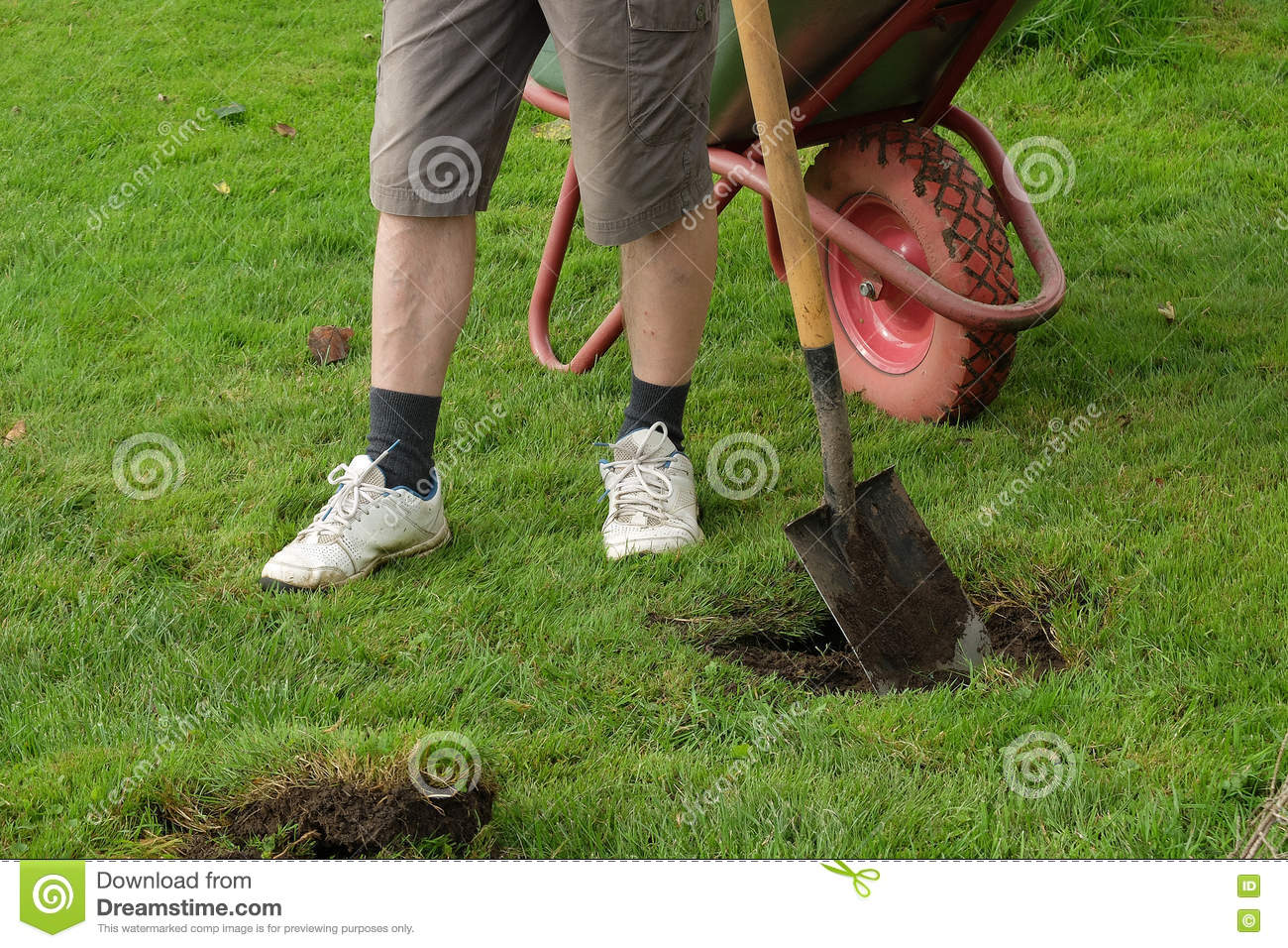 Man digging a hole with a shovel