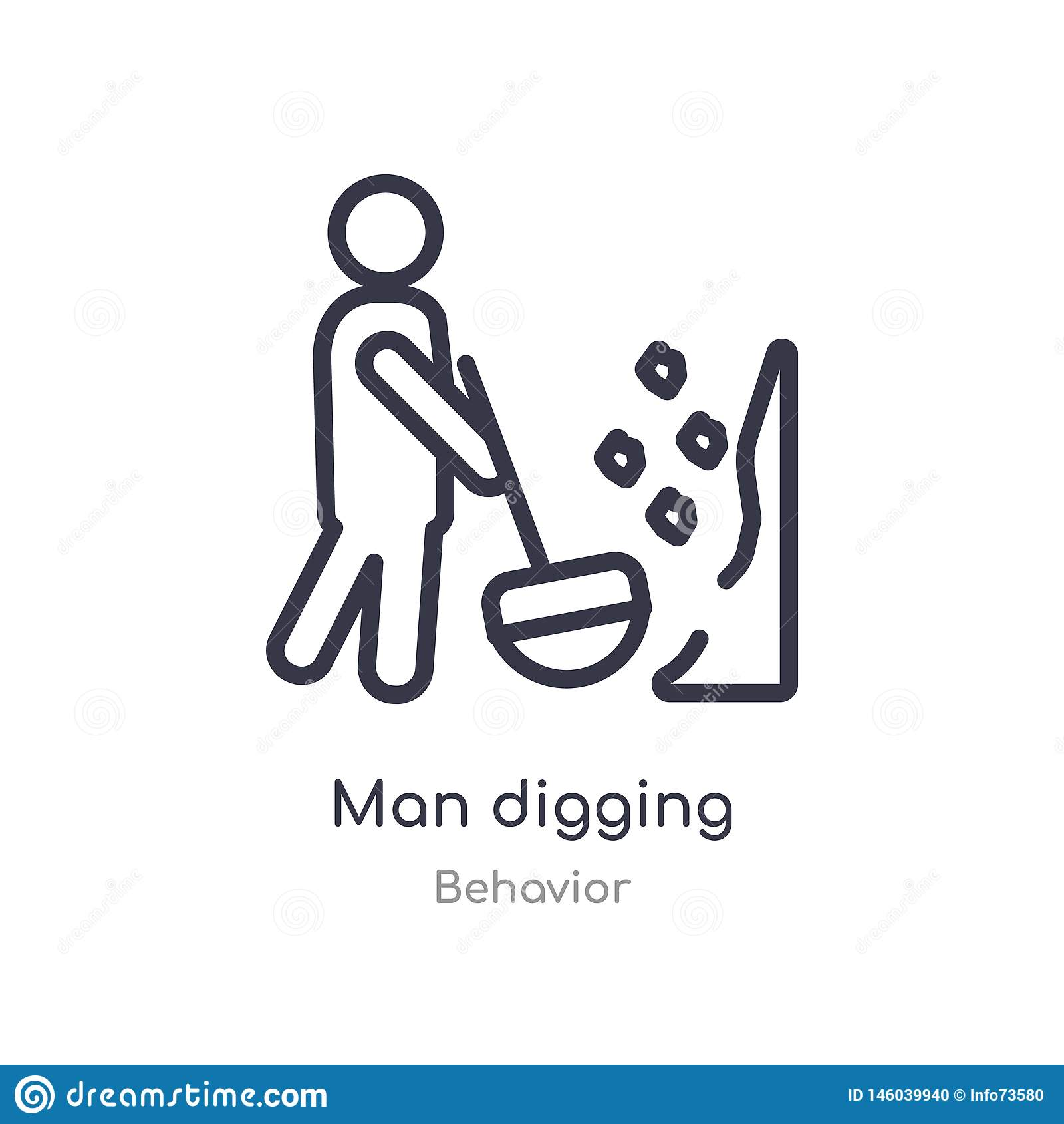 man digging outline icon. isolated line vector illustration from behavior collection. editable thin stroke man digging icon on