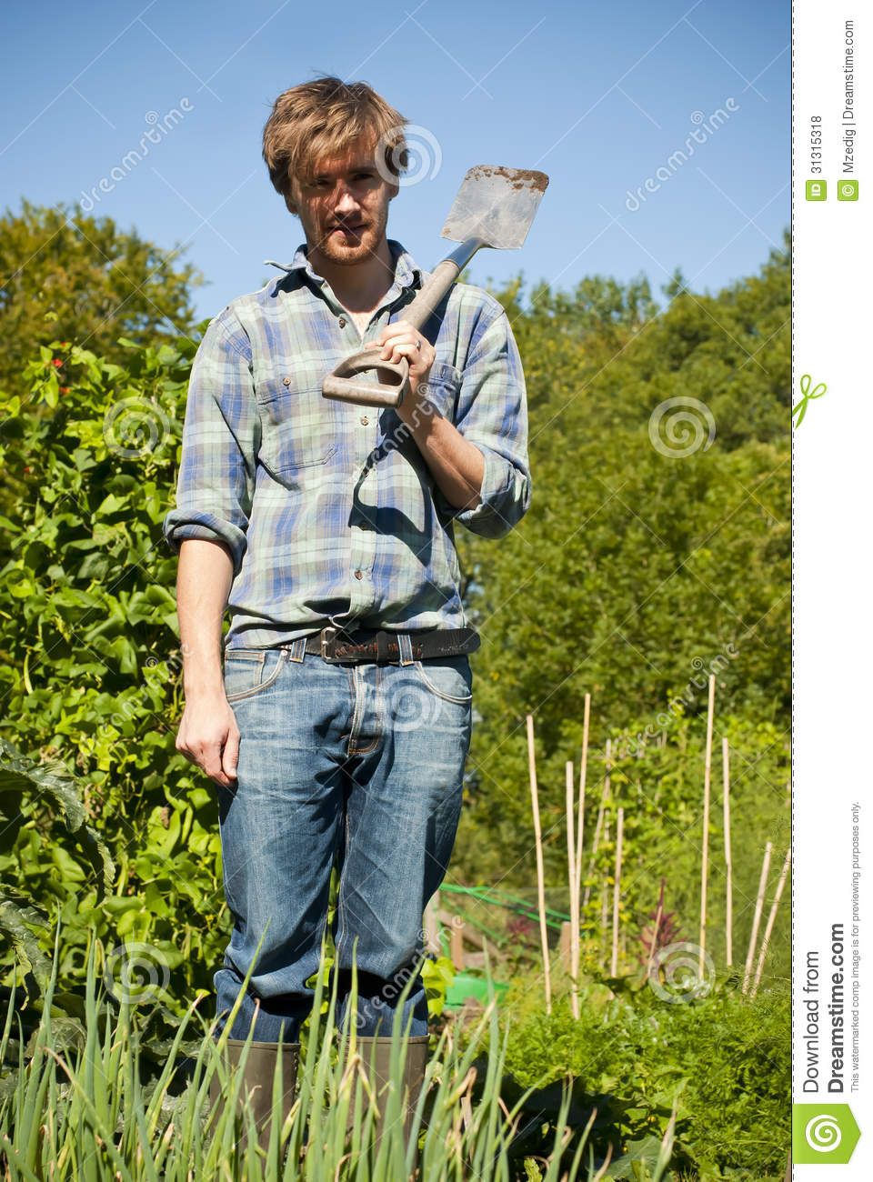Man digging in vegetable garden royalty free stock photos for Digging ground dream meaning