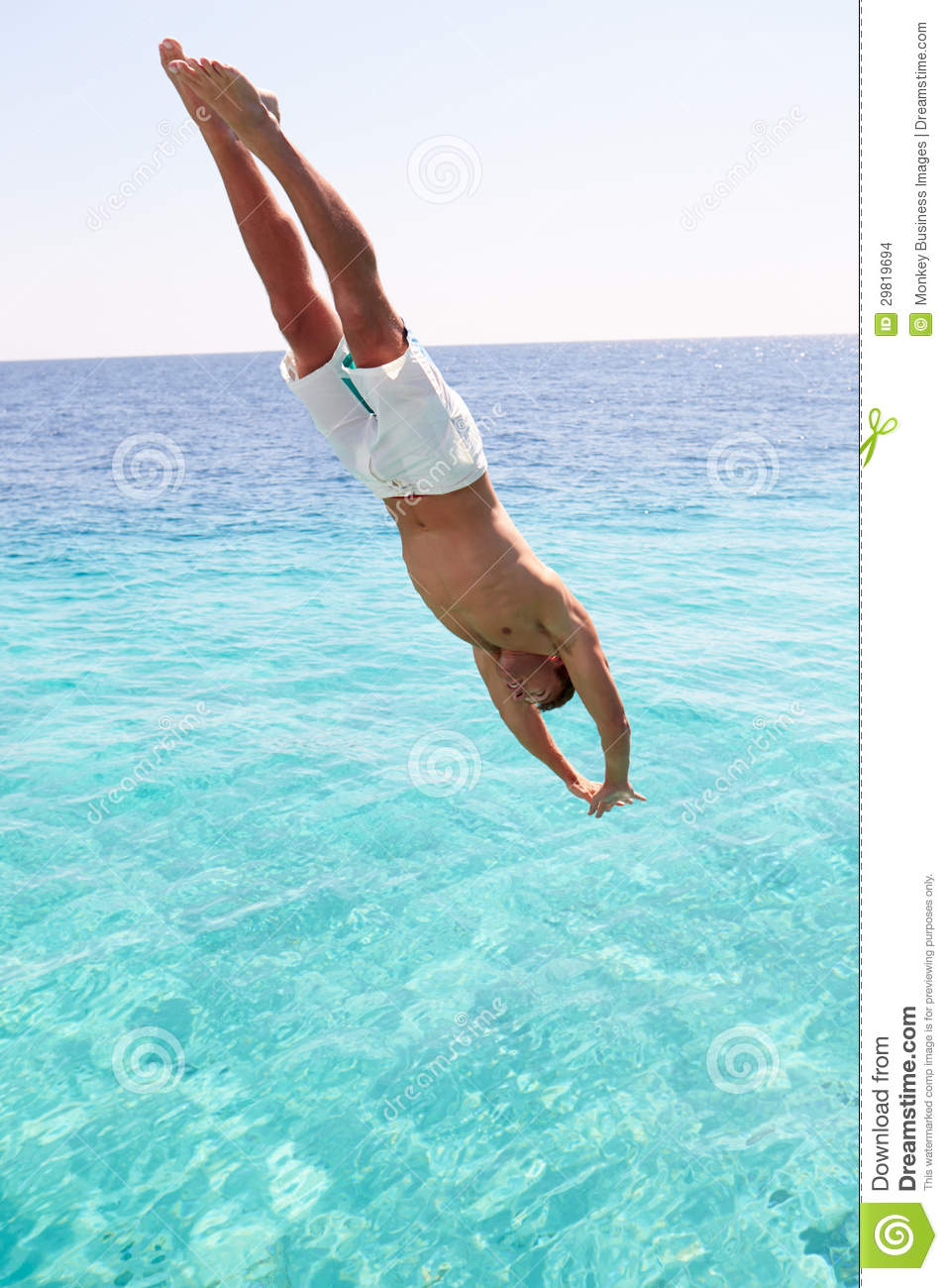 Man Diving Into Sea Stock Photo Image Of Horizontal 29819694
