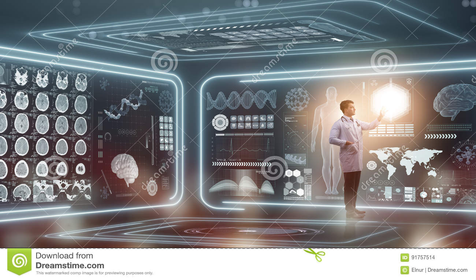 The man doctor in futuristic medicine medical concept