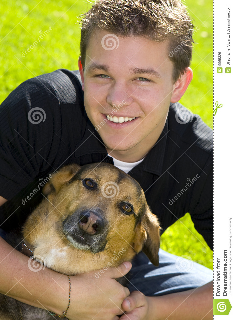 Man On Dog : Man and dog stock photo image of nature american casual