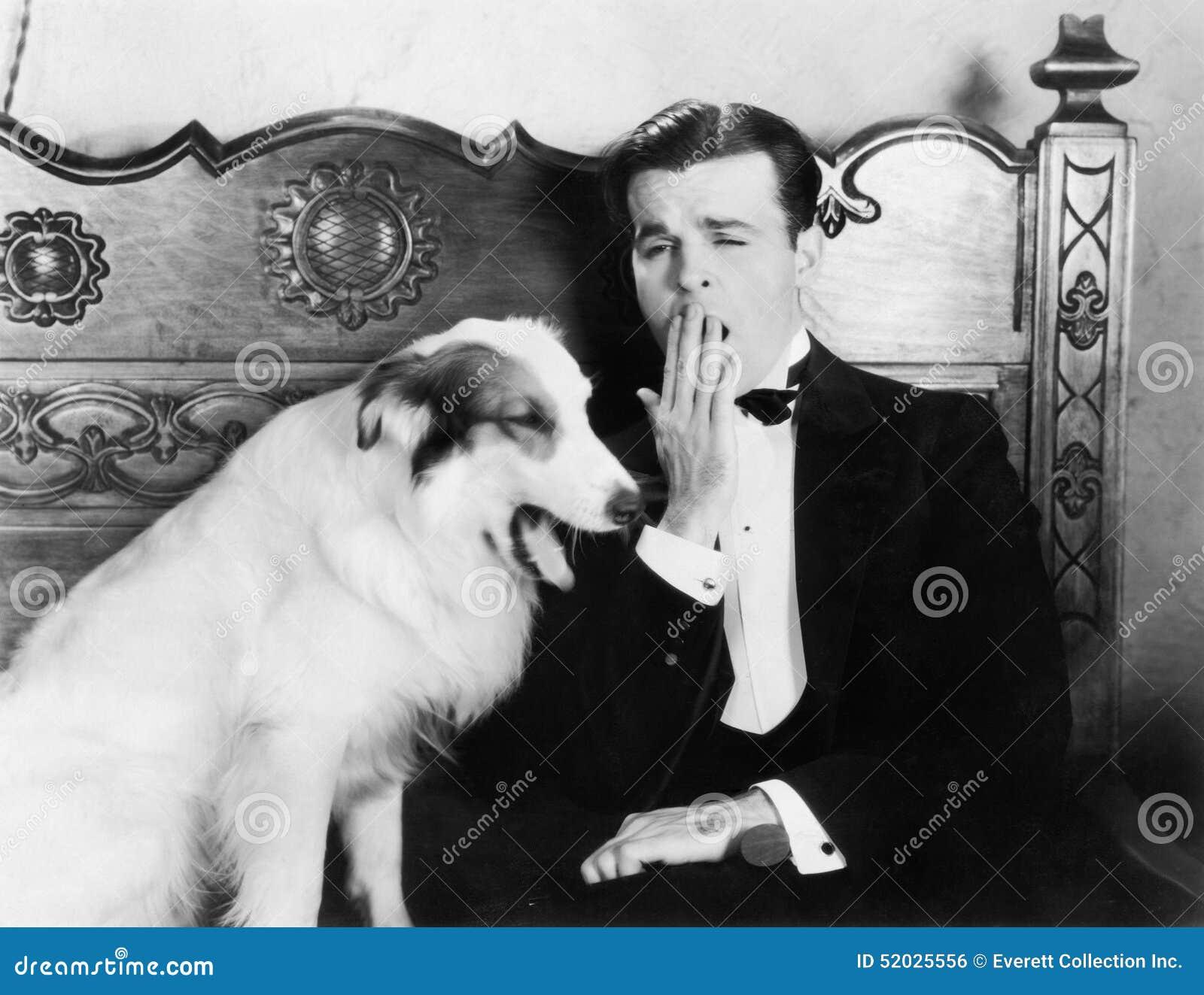 Man And Dog Sitting Together Yawning Stock Photo - Image ...