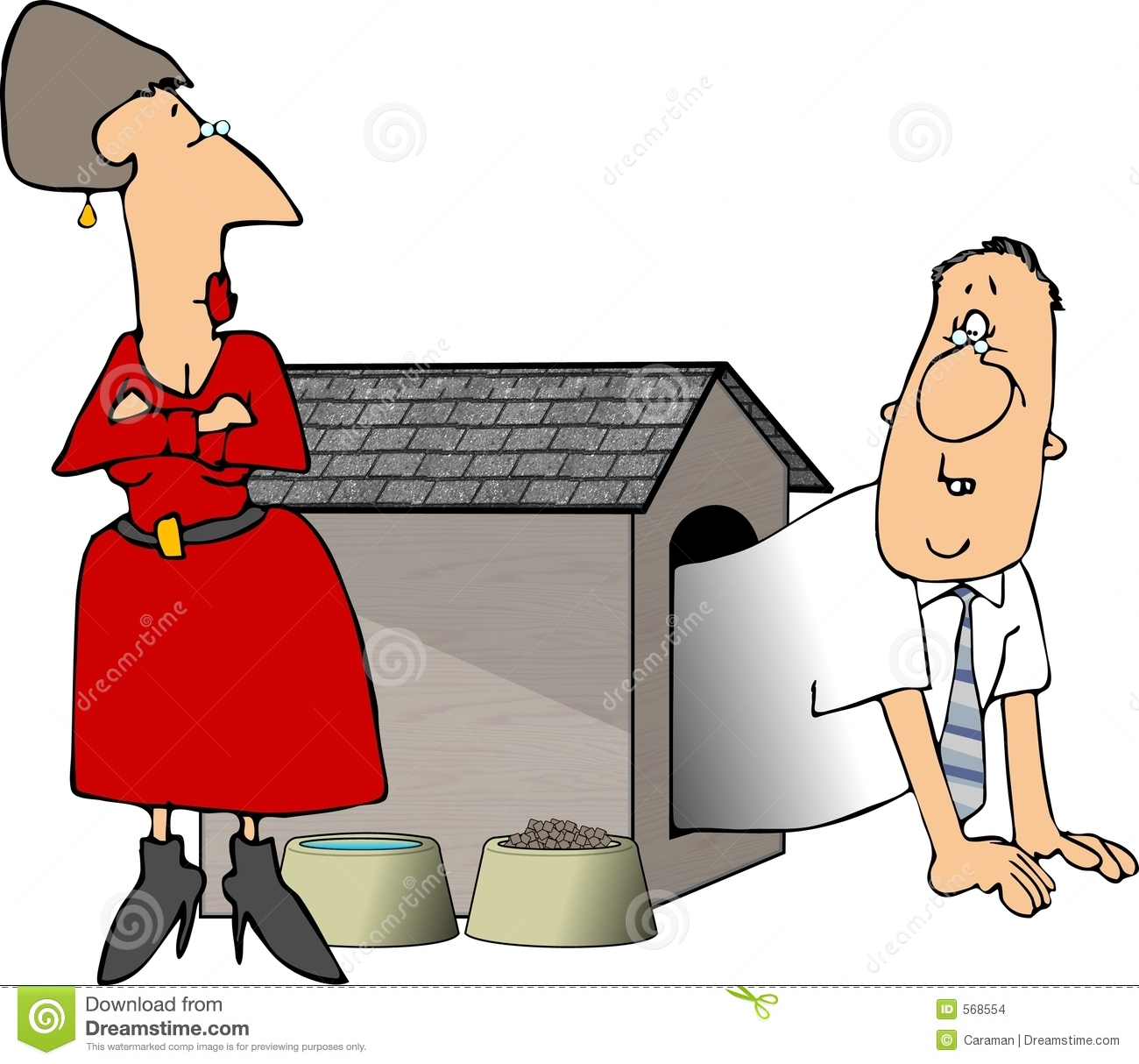 Man In The Doghouse Stock Images Image 568554