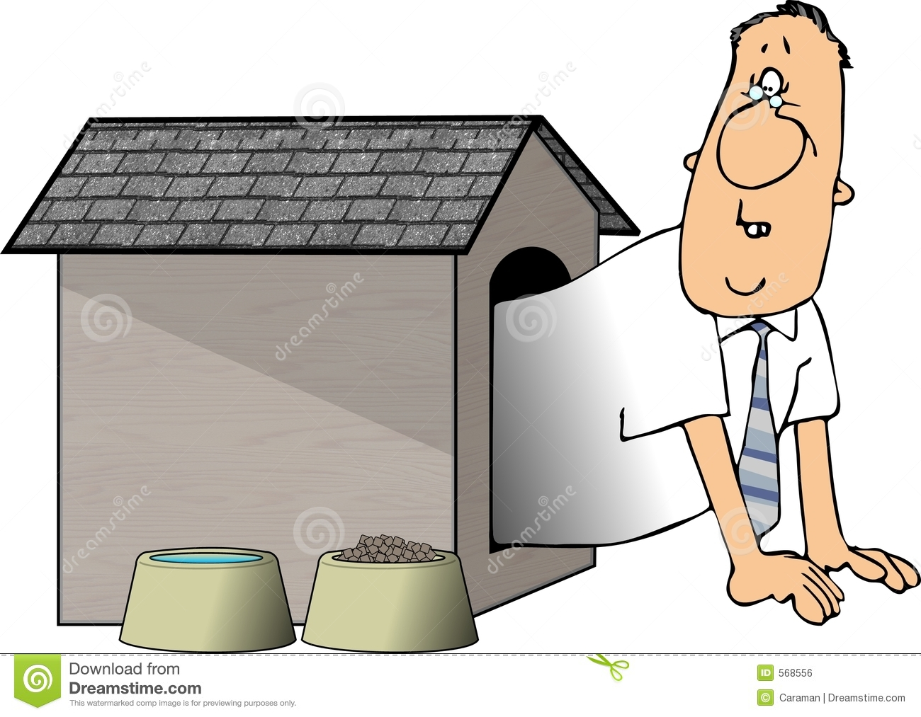 Man In The Doghouse Royalty Free Stock Image - Image: 568556