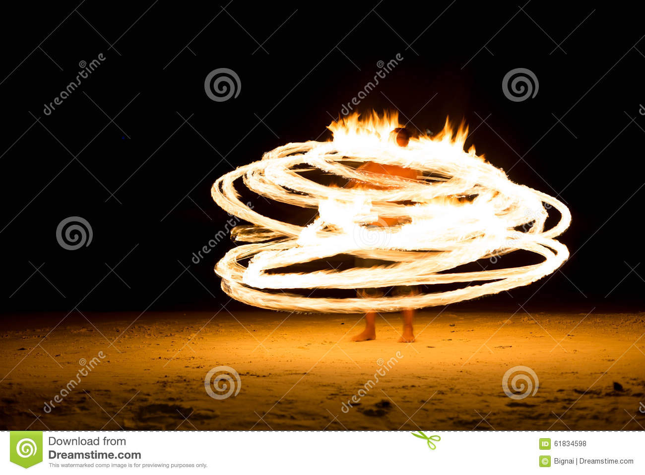 Man doing Fire show on beach party
