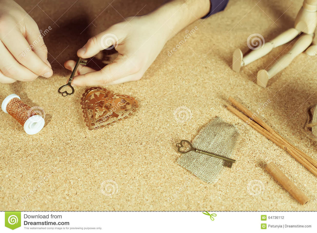 Man Doing Handmade Gift For His Beloved Wife Or Girlfriend Stock