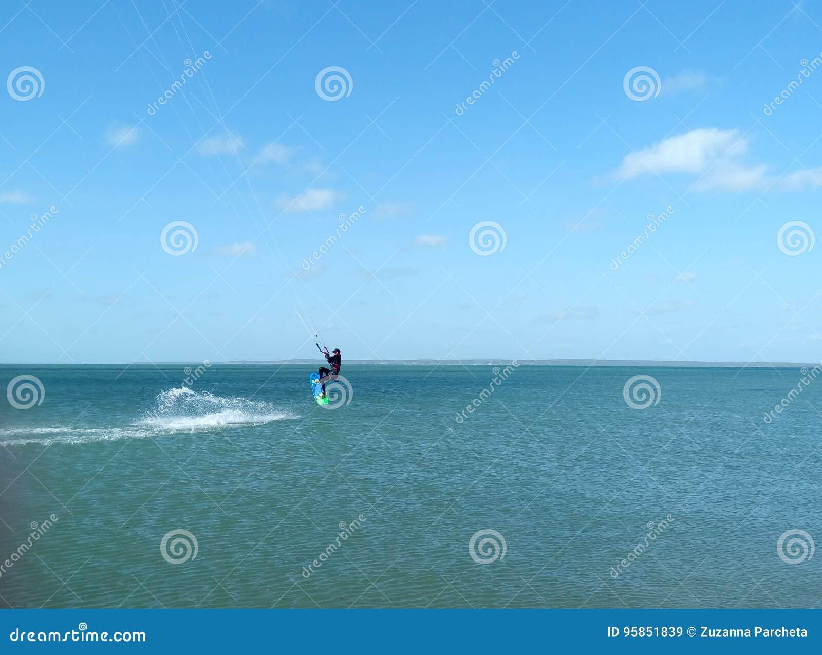 Man doing kitesurf
