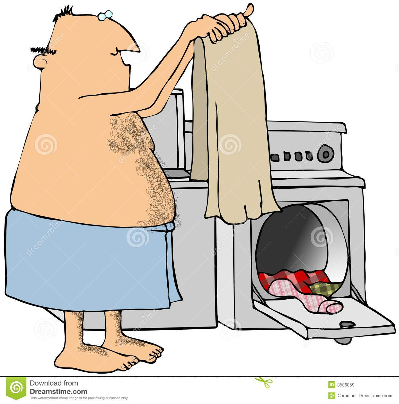Clothes Dryer Clip Art ~ Man doing laundry stock illustration of