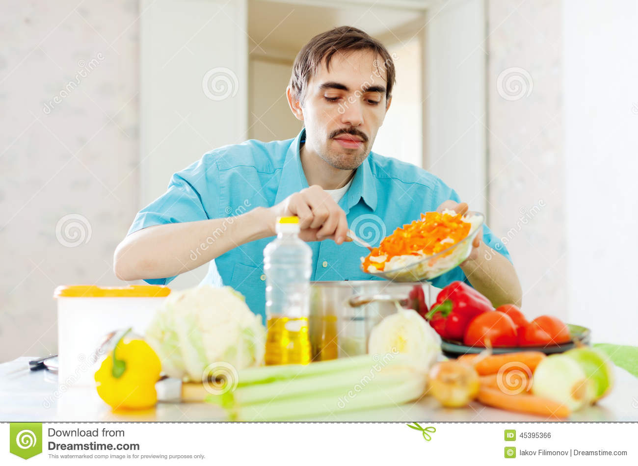 Man Doing Lunch With Vegetables Stock Photo - Image of slicing ...