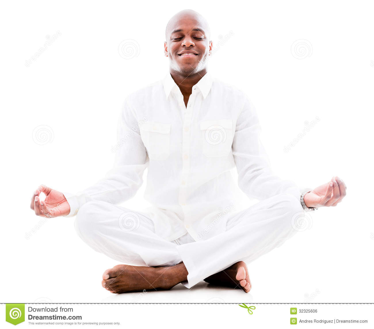Peaceful man doing yoga and meditating - isolated over a white ...