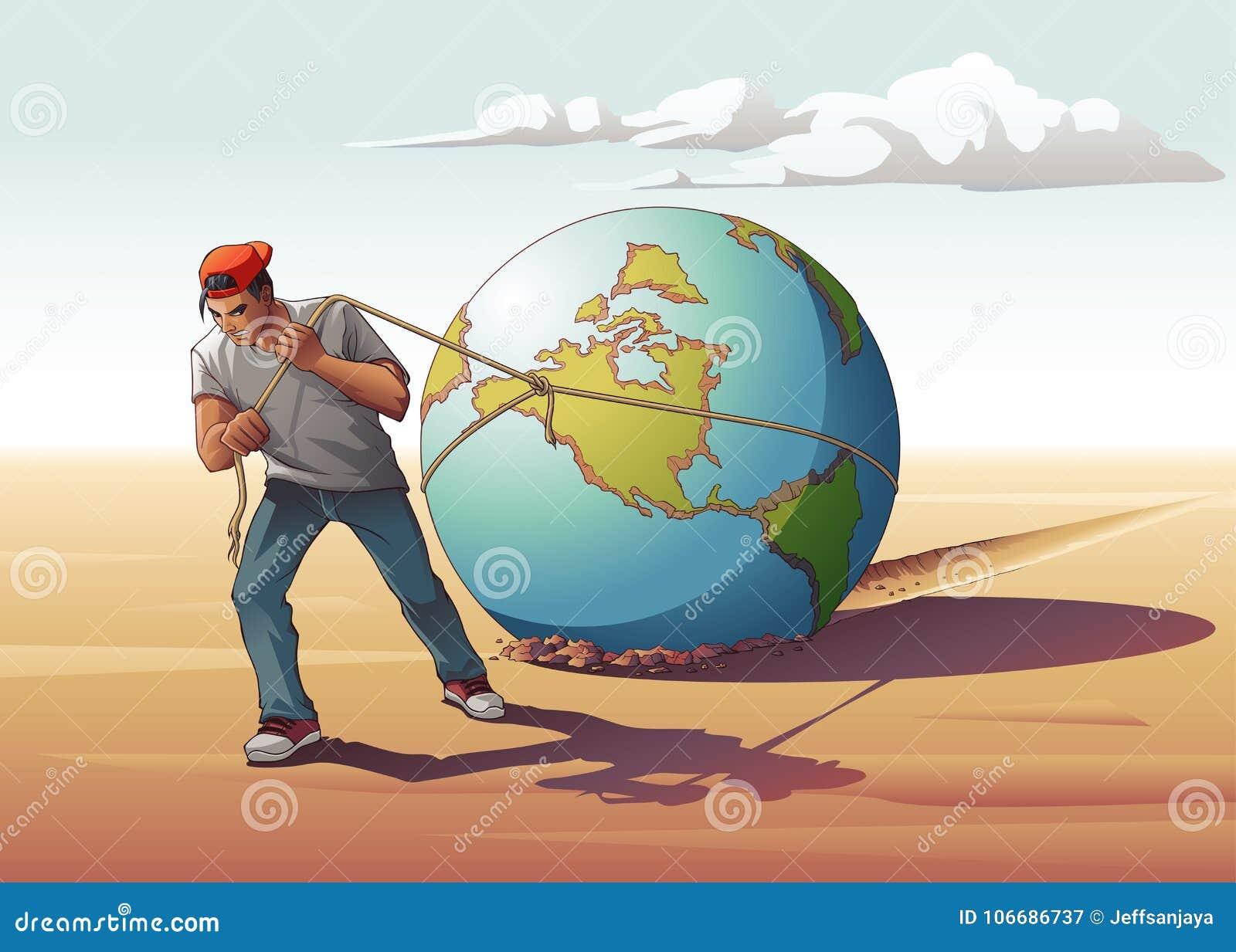 Man Dragging Globe